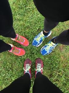 Three people, six trainers